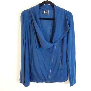 H by Bordeaux Navy Asymmetrical Jacket